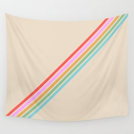Basajaun - Colorful Thin Lines on Beige Wall Tapestry