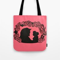 beauty and the beast Tote Bags featuring Beauty and the Beast  by eileenlim