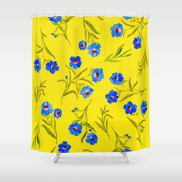 YELLOW & BLUE FLORAL Shower Curtain