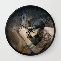 totem Wall Clocks featuring Totem by Marine Loup