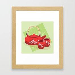 Red Tea Set Framed Art Print