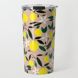 Juicy Lemons Pink Travel Mug