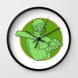 Cricket Player Batsman Circle Mono Line Wall Clock