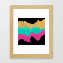 Neon Gold Pink Teal Brushstroke Color Blocks Framed Art Print