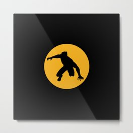 A Panther in a yellow circle Metal Print