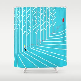 Astro Balloon | My Balloon Friend | Astronaut in Forest | Cosmonaut | pulps of wood Shower Curtain