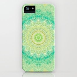 Bright Yellow Aqua Mandala Design iPhone Case