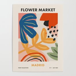 Flower Market Madrid, Abstract Retro Floral Print Poster