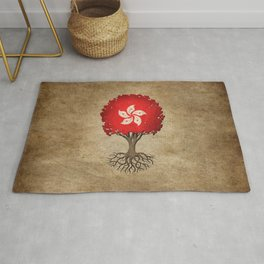 Vintage Tree of Life with Flag of Hong Kong Rug