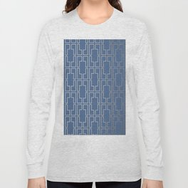 Simply Mid-Century in White Gold Sands and Aegean Blue Long Sleeve T-shirt