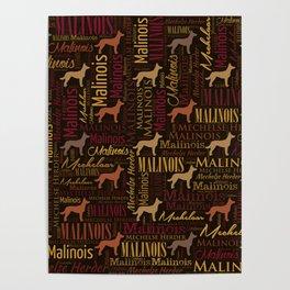 Belgian Malinois Dog Word Art pattern Poster