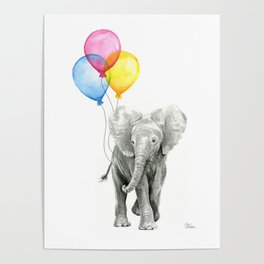Baby Elephant with Balloons Nursery Animals Prints Whimsical Animal Poster