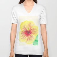 hibiscus V-neck T-shirts featuring Hibiscus by merialayne