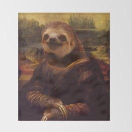 Sloth  Mona Lisa Throw Blanket