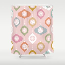 Retro Christmas Baubles Pattern on Pastel Pink Shower Curtain