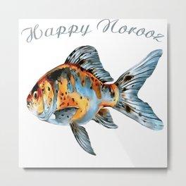 Happy Norooz Shubunkin Goldfish Persian New Year Metal Print