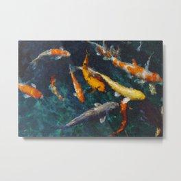 Koi Fish Pond styled painting wall art, Poster, Big Wall Art, Fish, Popular Art Metal Print