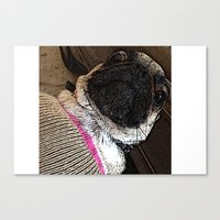 muppet Canvas Prints featuring Pug Muppet by Red NCK Debutante