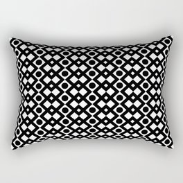 Black & White Geometric Design - Diamonds Circles Squares Rectangular Pillow