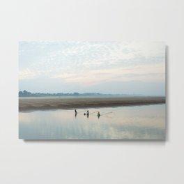 Three fishermen on the Mekong river, Laos Metal Print