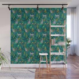 Lemurs in Teal Jungle Wall Mural