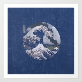 The Great Wave off Kanagawa Blue Tones Art Print