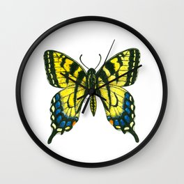 Tiger swallowtail butterfly watercolor and ink Wall Clock