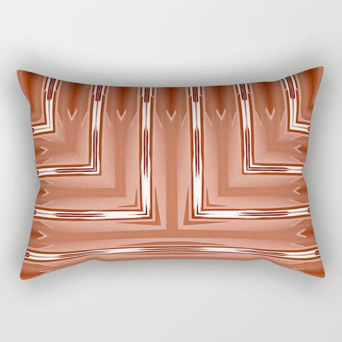 Art Deco Orange Spear Pattern Rectangular Pillow