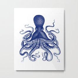 Octopus Print Navy Bluer by Zouzounio Art Metal Print