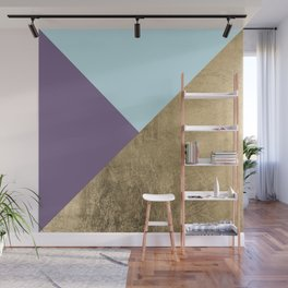 Elegant geometrical purple teal faux gold color block Wall Mural