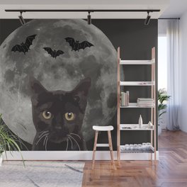 Black Cat with three bats and Moon Wall Mural