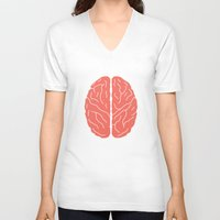 brain V-neck T-shirts featuring Brain by Yellow Chair Design