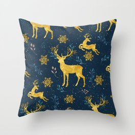 Golden Reindeer Throw Pillow