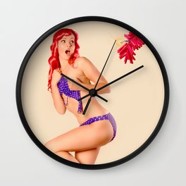 """Crackle Pop"" - The Playful Pinup - Fourth of July Fireworks Pinup Girl by Maxwell H. Johnson Wall Clock"