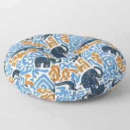 Crocodiles and elephants. Vintage ethnic tribal african hand drawn illustration pattern. Floor Pillow
