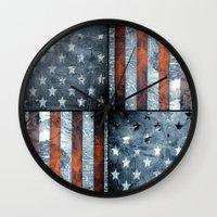 american flag Wall Clocks featuring American flag by Bekim ART