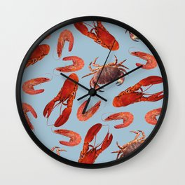 Lobster - Crab - Shrimps blue background Wall Clock