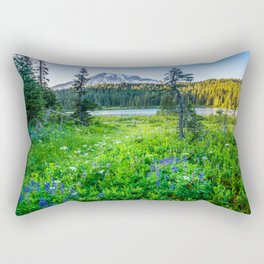 Rainier Wildflowers - Mt. Rainier in the Fall at Reflection Lake Rectangular Pillow