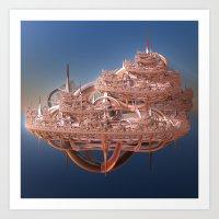 Rose Gold Floating Fractal City Art Print