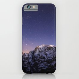 Starry sky above mountains iPhone Case