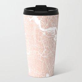Amsterdam Rosegold on White Street Map Travel Mug