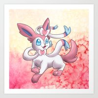 sylveon Art Prints featuring Sylveon by Jelecy