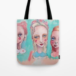 White, Blue and Pink Collared Tote Bag