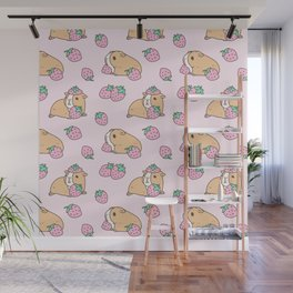 Pink Strawberries and Guinea pig pattern Wall Mural