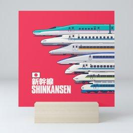 Shinkansen Bullet Train Evolution - Red Mini Art Print