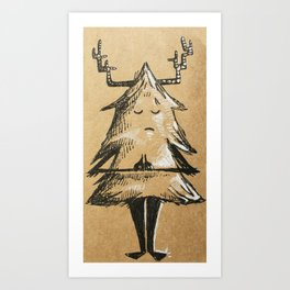 Namaste Evergreen Tree Art Print