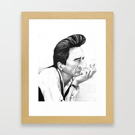Johnny Cash Black and White Caricature Framed Art Print