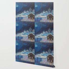 Moonlit cabin Wallpaper