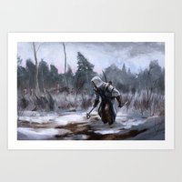 assassins creed Art Prints featuring Assassins Creed - Connor by Juhani Jokinen