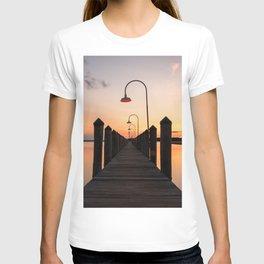 Rusty Rudder Dock Sunset T-shirt